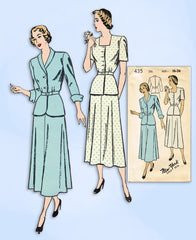1940s VTG New York Sewing Pattern 435 Uncut Misses Two Piece Dress Sz 34 Bust