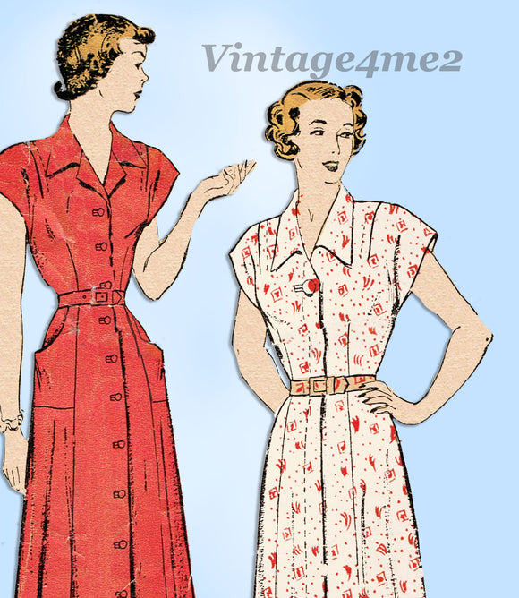 New York 470: 1940s Misses Dress w Pockets Size 36 Bust Vintage Sewing Pattern