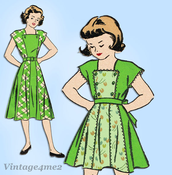 New York 478: 1940s Uncut Little Girls Dress Sz 12 Vintage Sewing Pattern