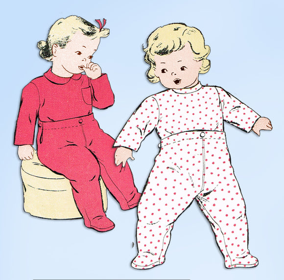 1940s Original Vintage New York Pattern 536 Uncut Toddlers Footie Pajamas Size 5