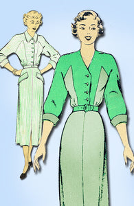 1940s Vintage New York Sewing Pattern 554 Misses Dress Great Lines Size 16 34B