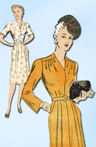 1940s Vintage New York Sewing Pattern 563 Misses WWII Street Dress Size 12 30B