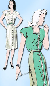 1940s Vintage New York Sewing Pattern 759 Misses WWII House Dress Size 20 38B