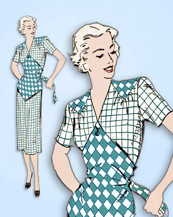 1940s Vintage New York Sewing Pattern 771 Uncut Misses Dress with Button On Apron Sz 32 Bust