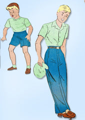 1940s Vintage New York Sewing Pattern 831 FF WWII Boys Shorts or Trousers Sz 12