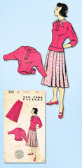 1940s Vintage New York Sewing Pattern 841 Uncut Misses Skirt and Blouse Sz 33 B