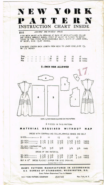 1950s Vintage New York Sewing Pattern 851 Uncut Misses Tucked Dress Size 15 33 B