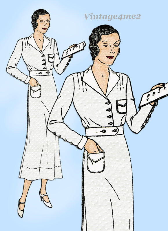 New York 86: 1930s Uncut Plus Size Nurses Uniform Dress 46 B VTG Sewing Pattern