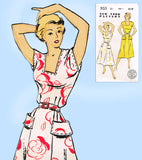 New York 933: 1940s Uncut Misses Easy Dress Size 38 Bust Vintage Sewing Pattern