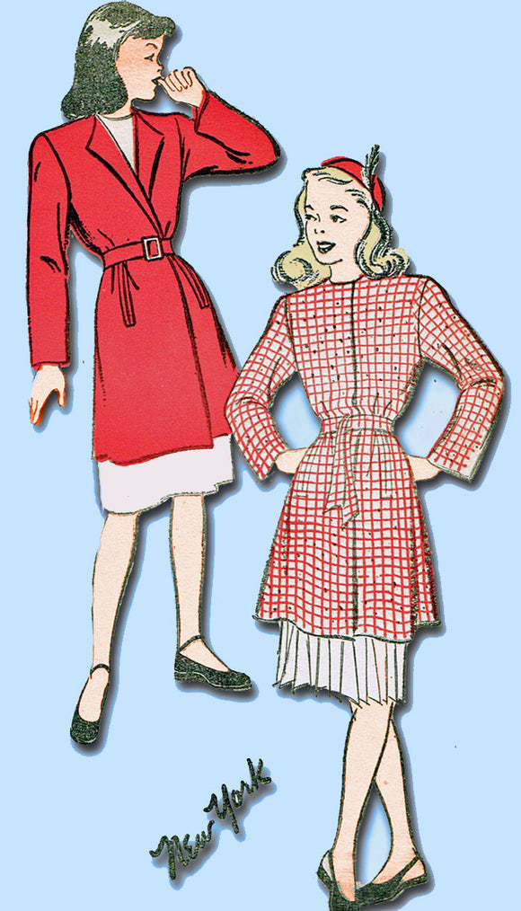1940s Vintage New York Sewing Pattern 937 Uncut WWII Little Girls Coat Sz 12 - Vintage4me2
