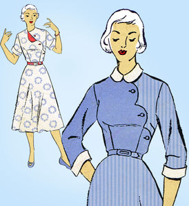 New York 969: 1950s Misses Uncut Scalloped Dress Sz 31 B Vintage Sewing Pattern - Vintage4me2