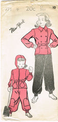 1940s Vintage New York Sewing Pattern 971 Uncut WWII Girls Snowsuit Size 10