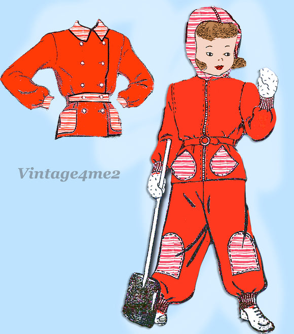 1940s Vintage New York Sewing Pattern 971 WWII Toddler Girls Snowsuit Size 4