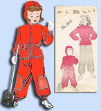1940s Vintage New York Sewing Pattern 971 WWII Toddler Girls Snowsuit Size 6