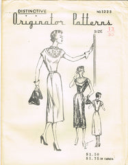 1950s Very Rare Originator Designer Pattern 1223 Misses' Dress w Inset Yoke 30B