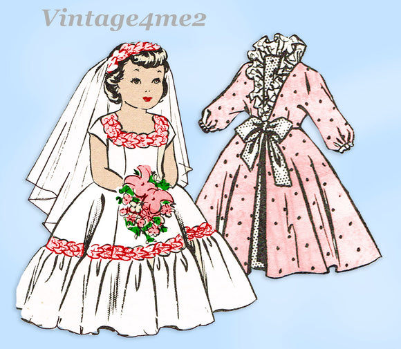 1960s Vintage Parade Mail Order Sewing Pattern 451 Uncut 18in Bridal Doll Clothes Set