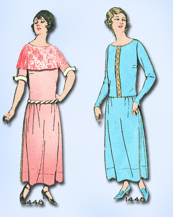 1920s Vintage Pictorial Review Sewing Pattern 1448 Misses Afternoon Dress Sz 34B - Vintage4me2