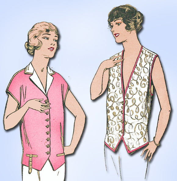 1920s Vintage Pictorial Review Sewing Pattern 2226 Misses Waistcoat Blouse 34 B - Vintage4me2