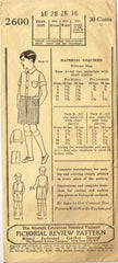 1920s Vintage Pictorial Review Patterns 2600 Boys Blouse & Short Trousers Sz 10