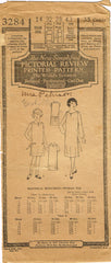 1920s Original Vintage Pictorial Review Pattern 3284 Girls Flapper Dress Size 14