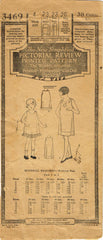 1920s Original Vintage Pictorial Review Pattern 3469 Toddler Girls Slip Size 4