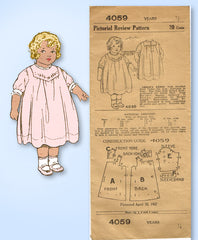 1910s Original Vintage Pictorial Review Sewing Pattern 4059 Baby Dress Sz 6 mos