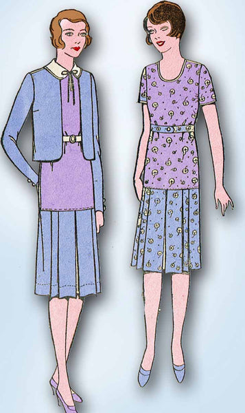 1920s Pictorial Review Sewing Pattern 5105 Junior Girls Flapper Suit Size 12 30B - Vintage4me2