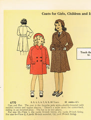 1930s Pictorial Review Sewing Pattern 6770 Uncut Toddler Girls Coat & Hat Sz 2