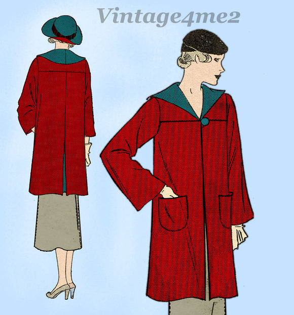 Pictorial Review 7314: 1930s Misses Swagger Coat Sz 32 B Vintage Sewing Pattern