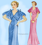 Pictorial Review 7975: 1930s Uncut Evening Gown Size 32 B Vintage Sewing Pattern