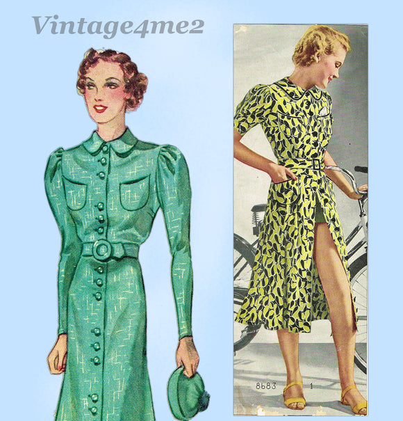 Pictorial Review 8683: 1930s Misses Button Up Dress 32 B Vintage Sewing Pattern