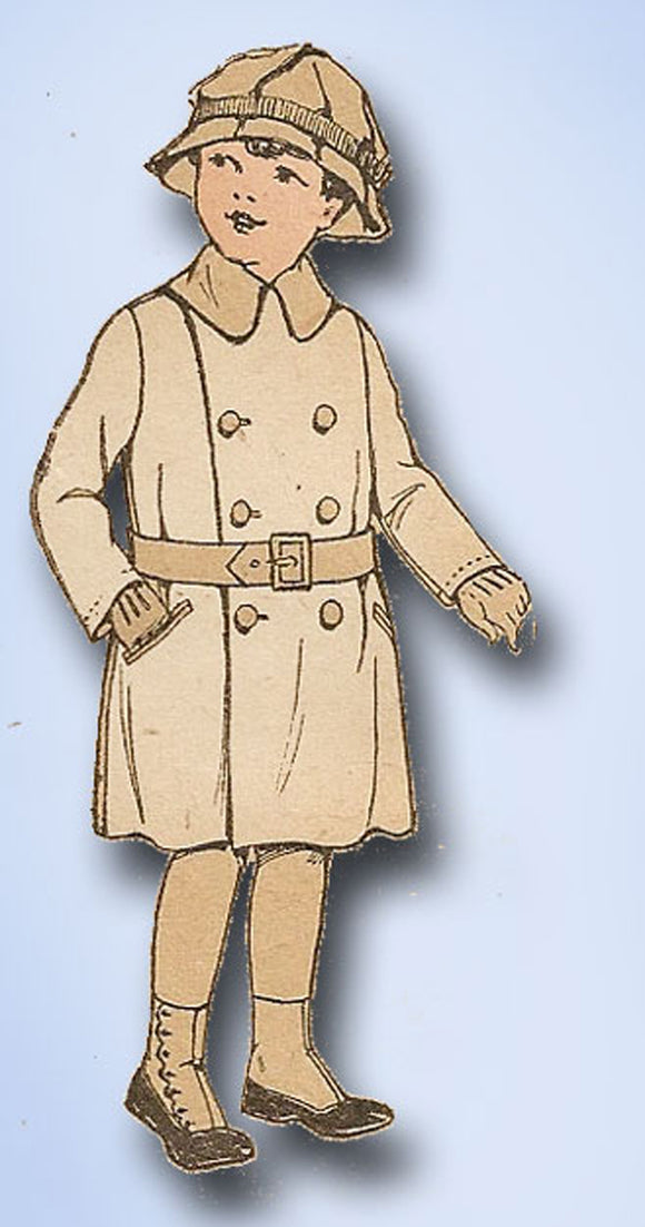 1910s Vintage Pictorial Review Pattern 9194 Toddler Boys Double Breasted Coat 6
