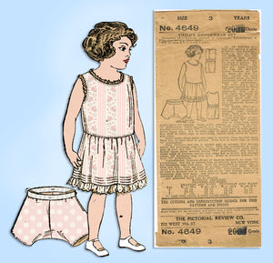 1910s Rare Vintage Pictorial Review Sewing Pattern 4649 Toddler Girls Slip Sz 3 - Vintage4me2