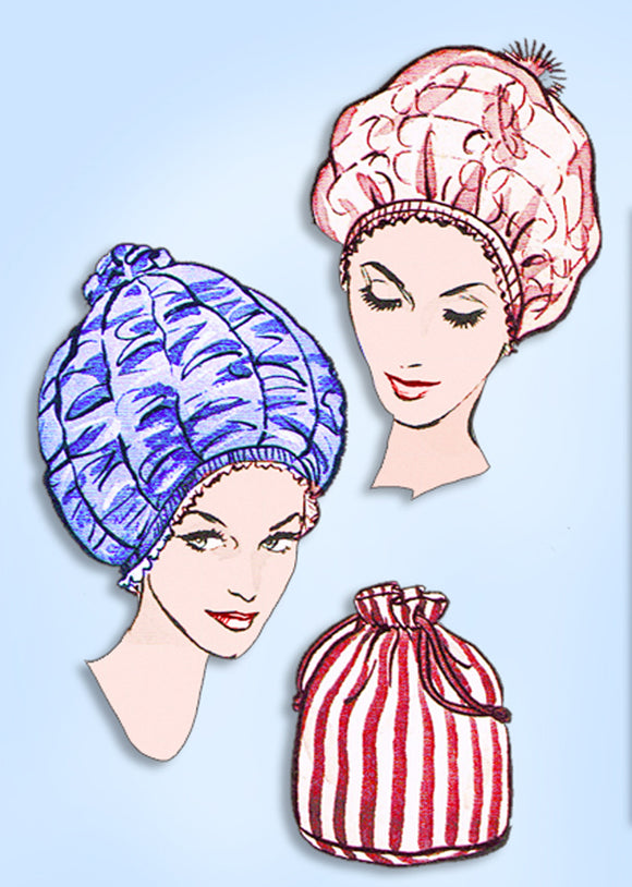 Sew Knit 210: 1960s Uncut Womens Bouffant Curler Bonnet Vintage Sewing Pattern