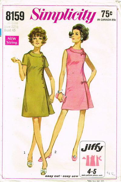 1960s Vintage Simplicity Sewing Pattern 8159 Uncut Plus Size Dress Easy 45 Bust