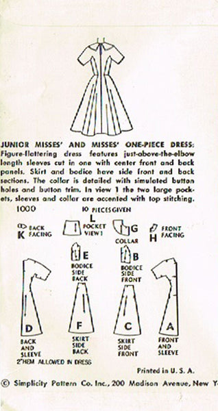 1950s Vintage Simplicity Sewing Pattern 1000 Uncut Misses Princess Dress Size 12