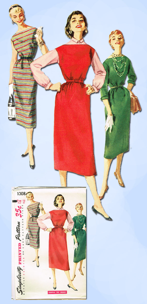1950s Vintage Simplicity Sewing Pattern 1008 FF Easy Misses Chemise Dress Sz 30 B