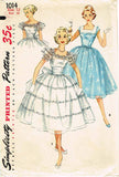 1950s Vintage Simplicity Sewing Pattern 1014 Teen Misses Prom Dress Size 12 30B
