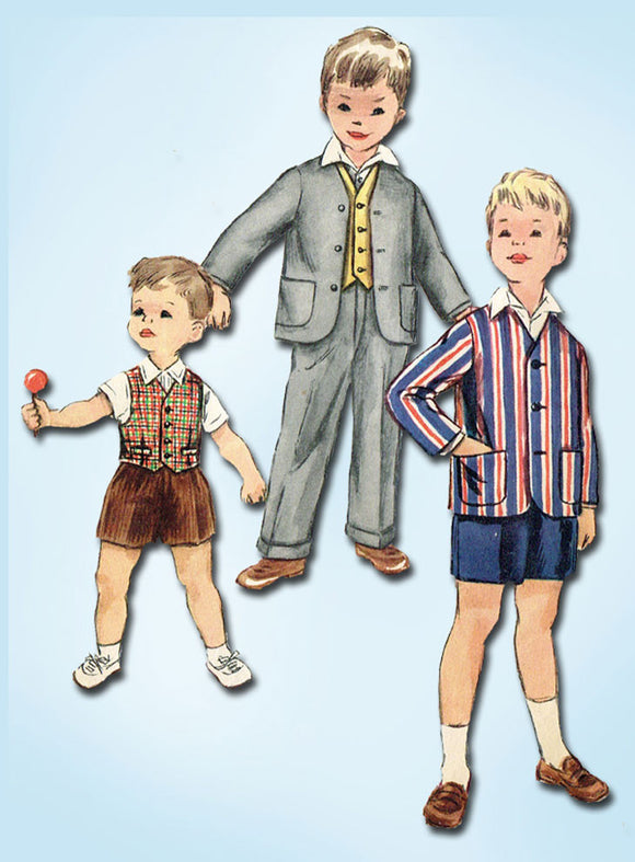 1950s Vintage Simplicity Sewing Pattern 1019 Toddler Boys 3 Piece Suit Size 4