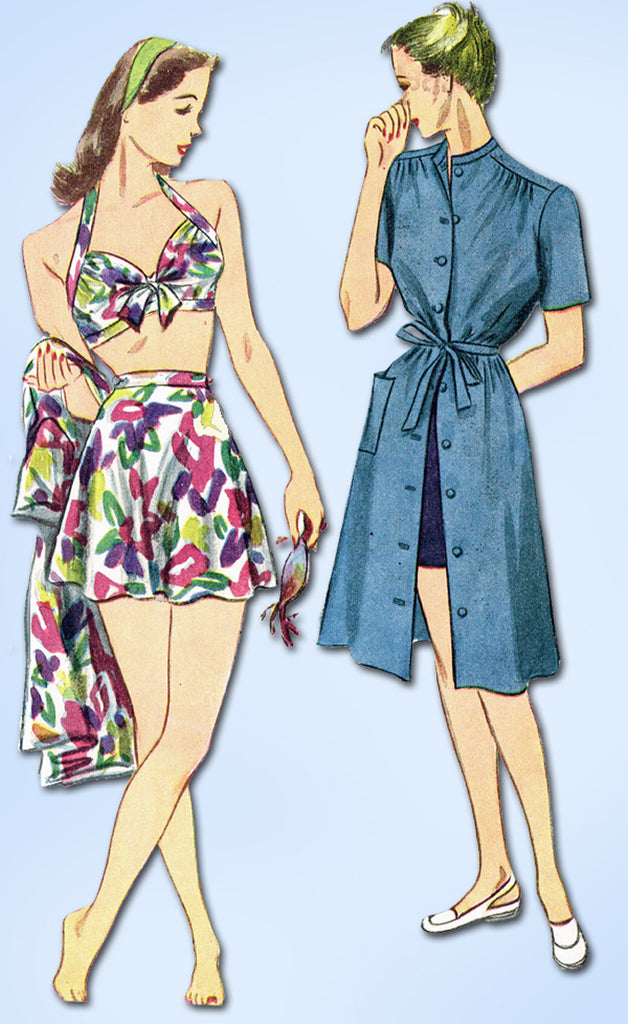 1940s Original Vintage Simplicity Pattern 1022 Misses 2 PC Bathing Suit & Dress