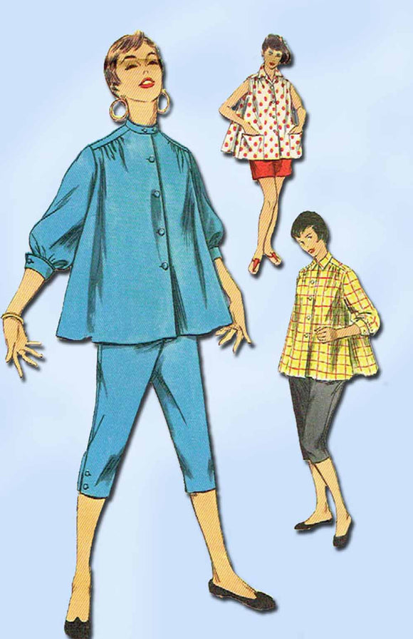 1950s Vintage Simplicity Sewing Pattern 1027 Misses Peddle Pushers & Blouse 30 B