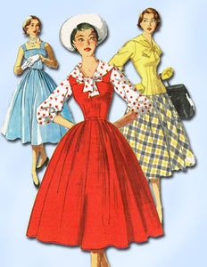 1950s Vintage Simplicity Sewing Pattern 1037 Misses' Dress or Jumper Size 16 FF