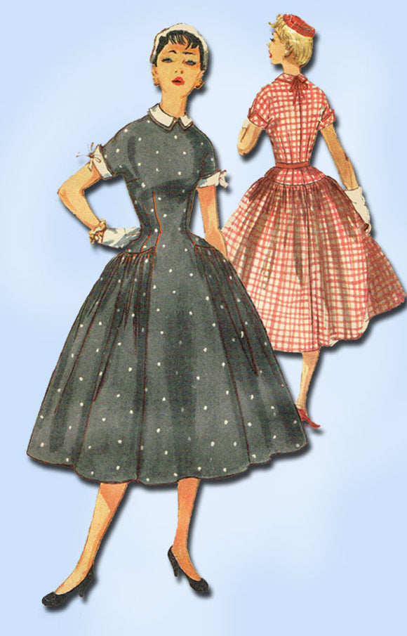 1950s Vintage Simplicity Sewing Pattern 1042 FF Misses Rockabilly Dress Sz 29 B - Vintage4me2