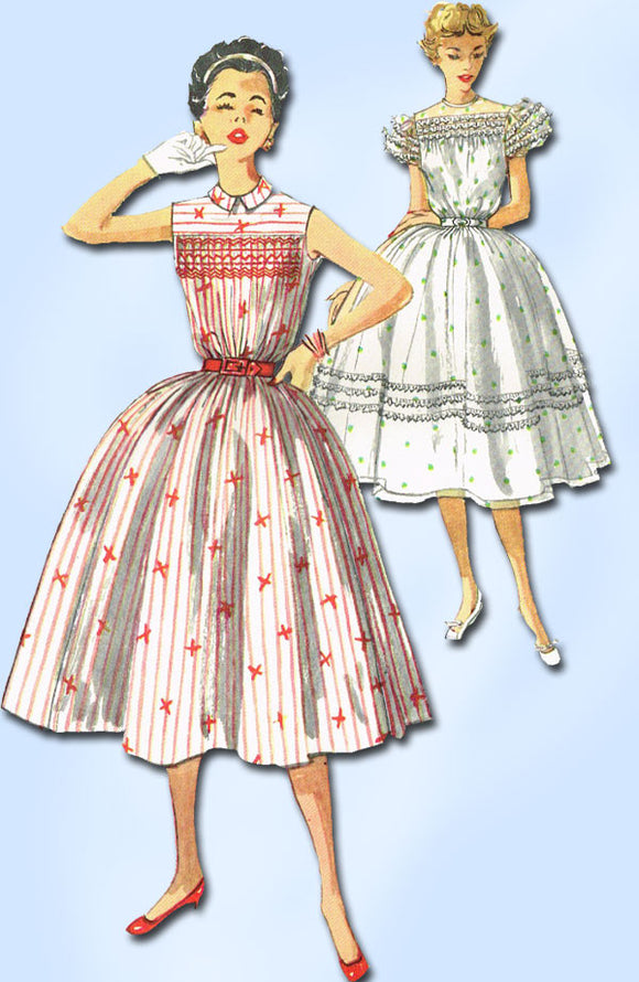 1950s Vintage Simplicity Sewing Pattern 1047 Misses' Smocked Dress Size 12 Uncut
