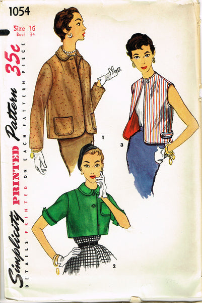 1950s Vintage Simplicity Sewing Pattern 1054 Uncut Misses Jacket Set Size 16 34B