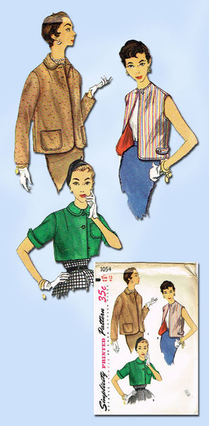 1950s Vintage Simplicity Sewing Pattern 1054 Uncut Misses Jacket Set Size 12 30B