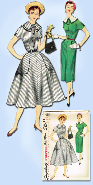 1950s Vintage Simplicity Sewing Pattern 1055 Uncut Misses Street Dress Sz 12 30B