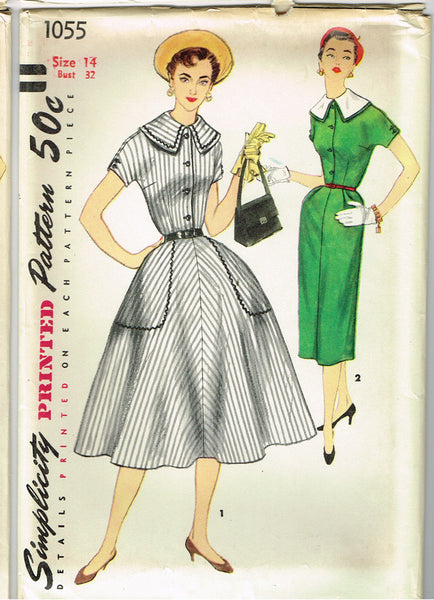1950s Vintage Simplicity Sewing Pattern 1055 Uncut Misses Street Dress Sz 14 32B