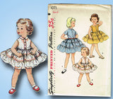 1950s Vintage Toddler Girls Dress Uncut 1955 Simplicity Sewing Pattern 1071 Sz 6