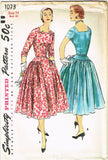 1950s Vintage Misses Cocktail Dress Uncut 1955 Simplicity Sewing Pattern Size 14
